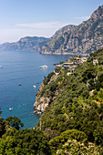 A view of the San Pietro Hotel seen from the main road, Amalfi Coast, Campania, Italy