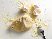 Pasta dough and egg shells