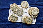 Rosemary and poppyseed crackers with alpine cheese