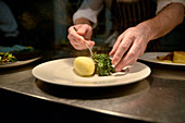 Chef plating Creamed Spinach and Potato in Restaurant