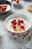 Baked yoghurt dessert in bowls with raspberries and almonds