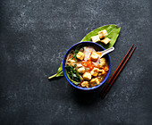 Canh bun - Vietnamese noodle soup with water spinach, fried tofu and fish balls