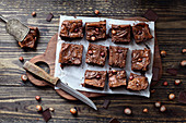 Homemade brownie squares made with chocolate cream and hazelnuts