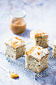 Banana bread with dulce de leche and whipped cream