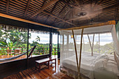 A bedroom in the Lapas Rojas Eco Lodge on the Osa peninsula, Costa Rica, Central America