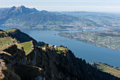 A mountain panorama including Mount Rigi and Lake Lucerne, Lucerne, Switzerland
