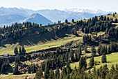 A mountain panorama including Mount Rigi, Lucerne, Switzerland