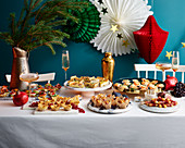 Buffet with party food for Chirstmas