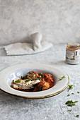 Eggplant parmigiana with robbiola cheese