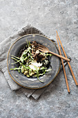 Labneh with lentils and lettuces