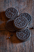 Oreo cookies on a wooden surface