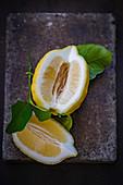 A sliced lemon