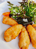Battered fish fillet with a mixed leaf salad