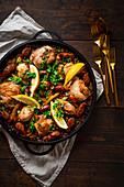 Chicken paella with chorizo