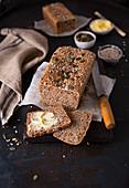 Wholewheat bread loaf cut