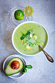 Pea and pint soup with avocado