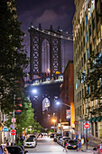 A view of Manhatten Bridge at night, New York City, USA