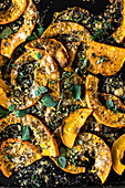 Oven-baked pumpkin with herbs and spices