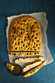 Homemeade olive oil and black olive foccacia with rosemary