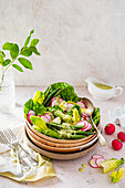 Spring salad with beans, boiled egg, radish and herby nicoise dressing with parsley, anchovies, lemon and olive oil