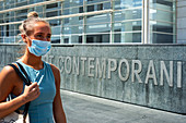 Woman wearing facemask during Covid-19 outbreak
