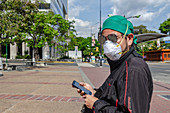 Man wearing facemask during Covid-19 outbreak