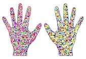 Human microbiota, conceptual illustration