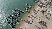 Fishing boats, Senegal, aerial view