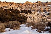 Badlands National Park in winter, USA