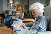 Care home resident painting