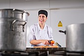 Care home cook prepares soft food for residents
