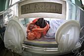 Baby in incubator, Afghanistan
