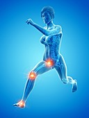 Woman with painful joints while running, illustration