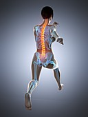 Woman with a painful back while running, illustration