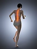Woman with a painful back while walking, illustration
