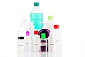 Bottles of disinfectant