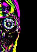 Robotic face, illustration