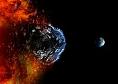 Meteor traveling towards Earth, illustration