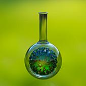 Covid-19 coronavirus in a laboratory flask, illustration