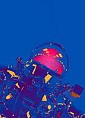 Astronaut wearing helmet, illustration