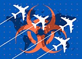 Global travel and virus, illustration
