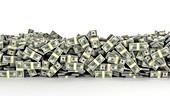 Pile of US dollar bills, illustration