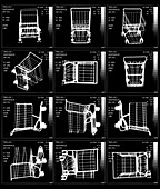 Shopping trolley in various positions, X-ray