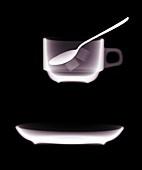 Teacup saucer and teaspoon, X-ray