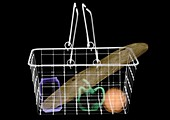 Wire basket containing shopping, X-ray