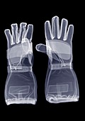 A pair of gauntlet gloves, X-ray