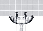 Hot and cold taps with sink and tiles, X-ray