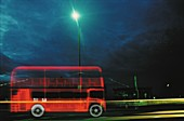 Double decker bus in the city, X-ray