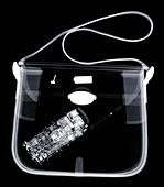 Mobile phone in handbag, X-ray