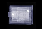 Wallet filled with US currency, X-ray